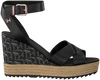 Zwarte TOMMY HILFIGER Sandalen TH RAFFIA HIGH WEDGE  - small