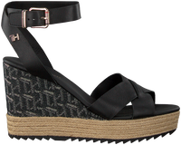 Zwarte TOMMY HILFIGER Sandalen TH RAFFIA HIGH WEDGE  - medium