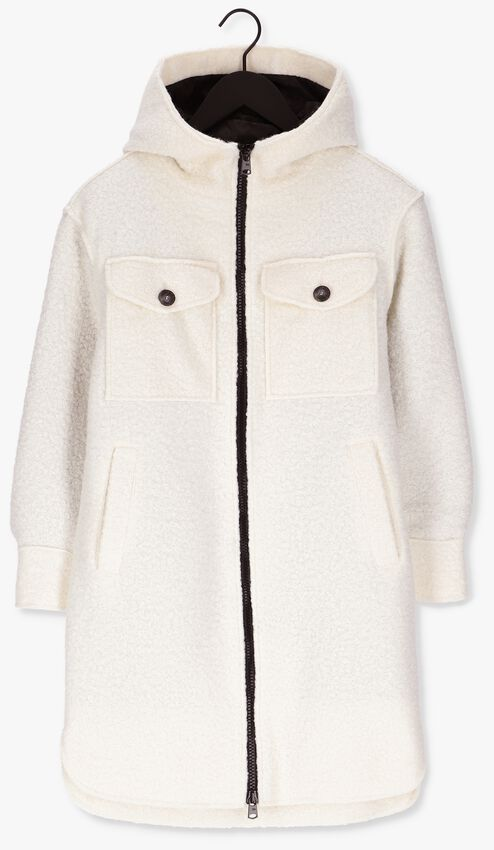 Witte BEAUMONT Teddy jas BOUCLE LONG HOODED JACKET - larger