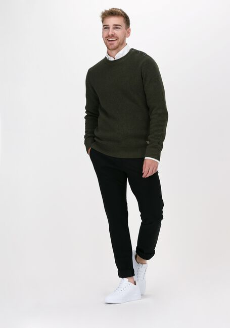 Donkergroene SELECTED HOMME Trui SLHIRVEN LS KNIT BUTTON CREW W - large