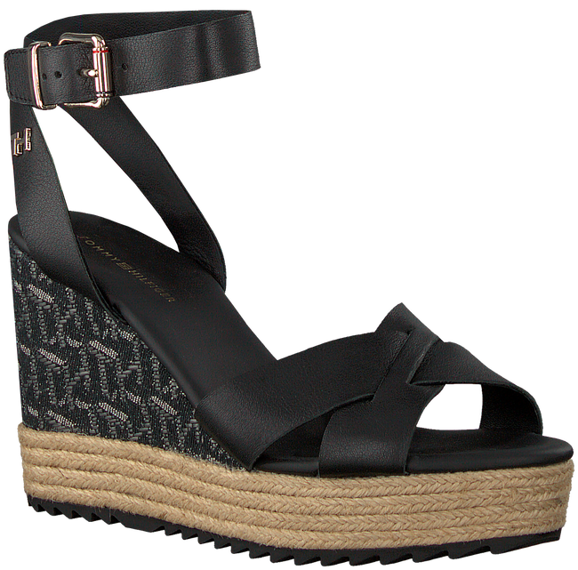 Zwarte TOMMY HILFIGER Sandalen TH RAFFIA HIGH WEDGE  - large