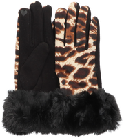 Zwarte Yehwang Handschoenen LEOPARD & FUR  - medium