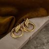 Gouden NOTRE-V Oorbellen OORBEL DUBBELE RING  - small