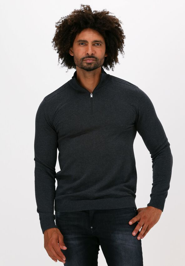 Antraciet SELECTED HOMME Trui SLHBERG HALF ZIP CARDIGAN B NO - larger