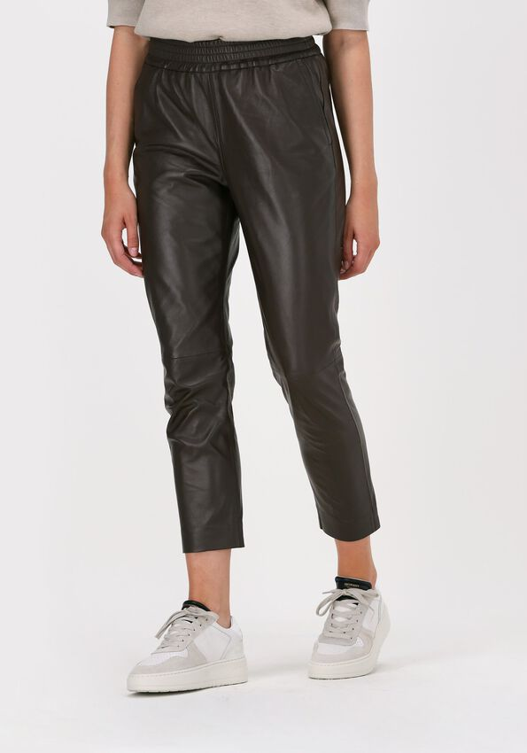 Bruine CO'COUTURE Pantalon SHILOH CROP LEATHER PANT  - larger