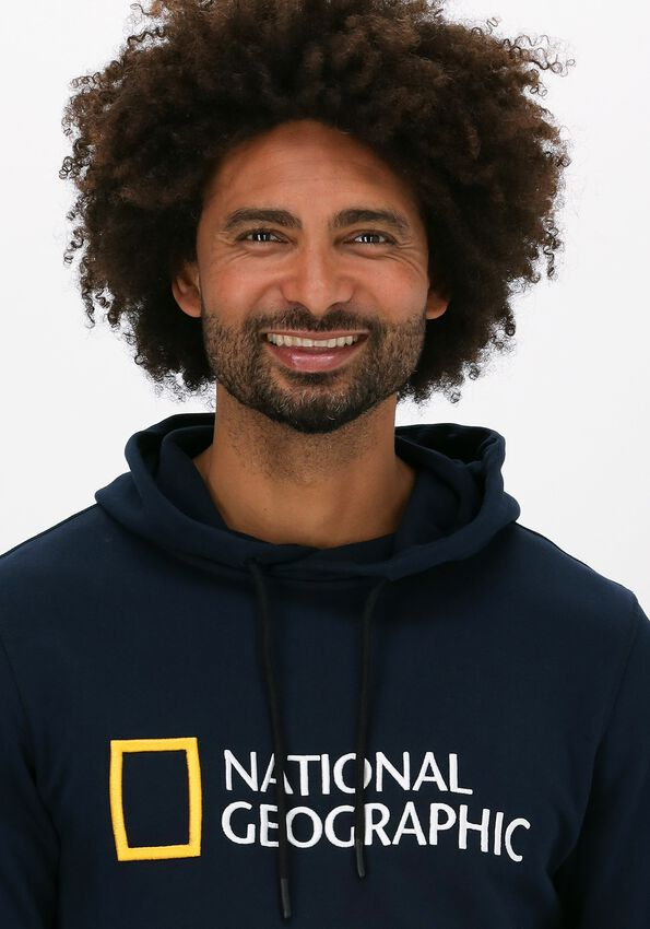 Donkerblauwe NATIONAL GEOGRAPHIC Sweater UNISEX HOODY WITH BIG LOGO  - larger