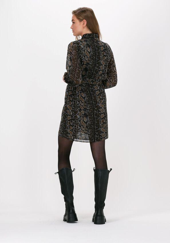 Zwarte OBJECT Mini jurk ANNA L/S SHIRT DRESS  - larger