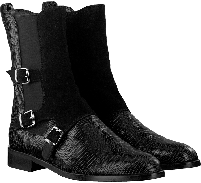 Zwarte PERTINI Enkellaarsjes 30060  - large