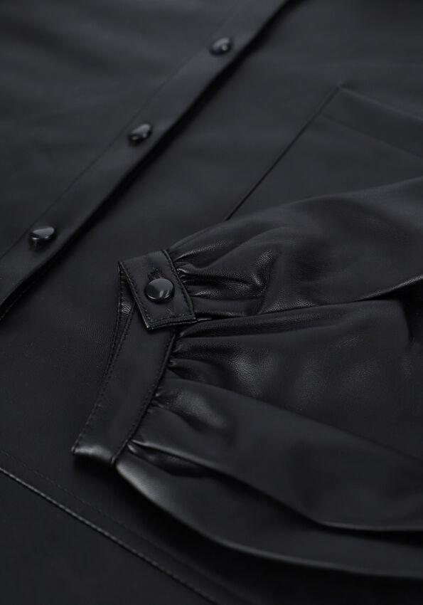 Zwarte NA-KD Blouse OVERSIZED PUFF SLEEVE PU SHIRT - larger