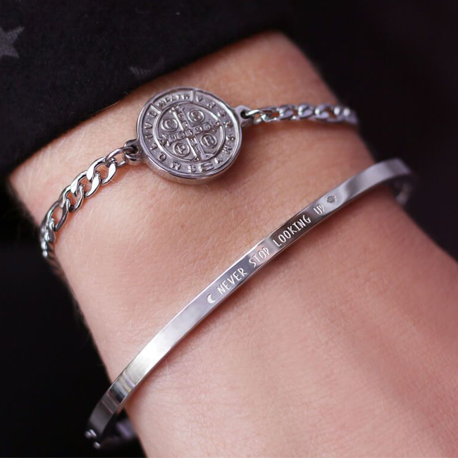 Zilveren MY JEWELLERY Armband NEVER STOP LOOKING UP BANGLE  - large