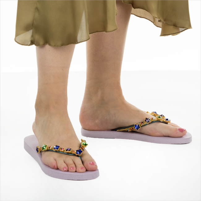 Paarse UZURII Slippers COLORFUL STAR - large