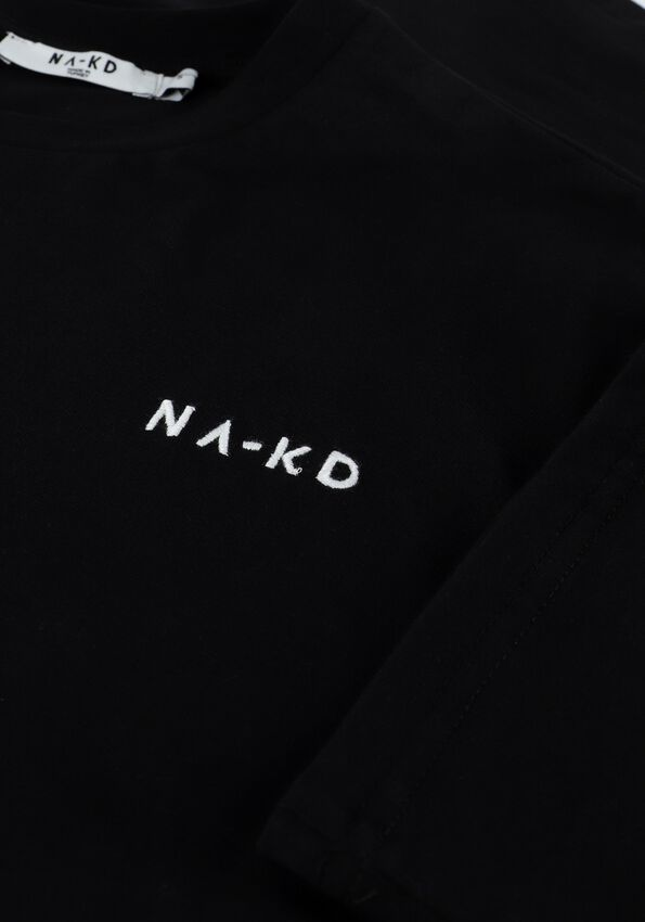 Zwarte NA-KD T-shirt ORGANIC LOGO OVERSIZED TEE  - larger