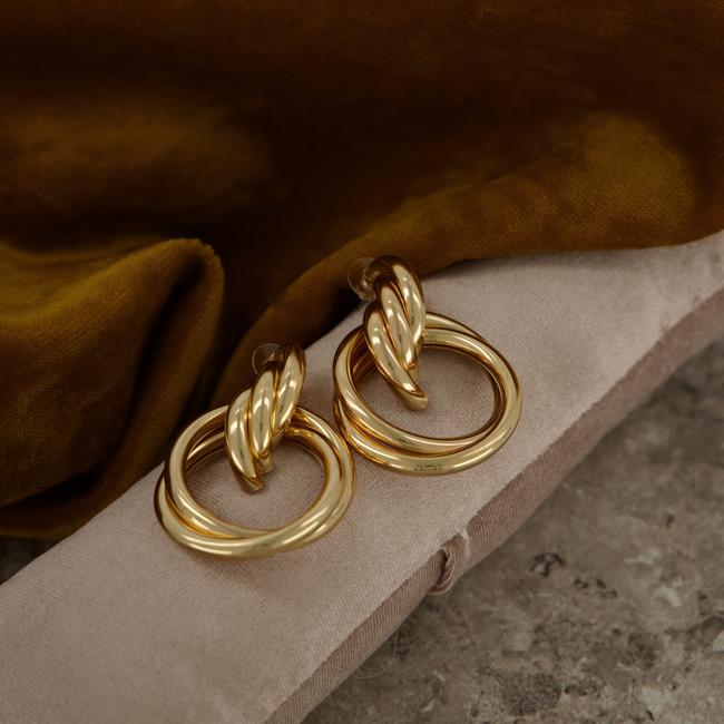 Gouden NOTRE-V Oorbellen OORBEL DUBBELE RING  - large