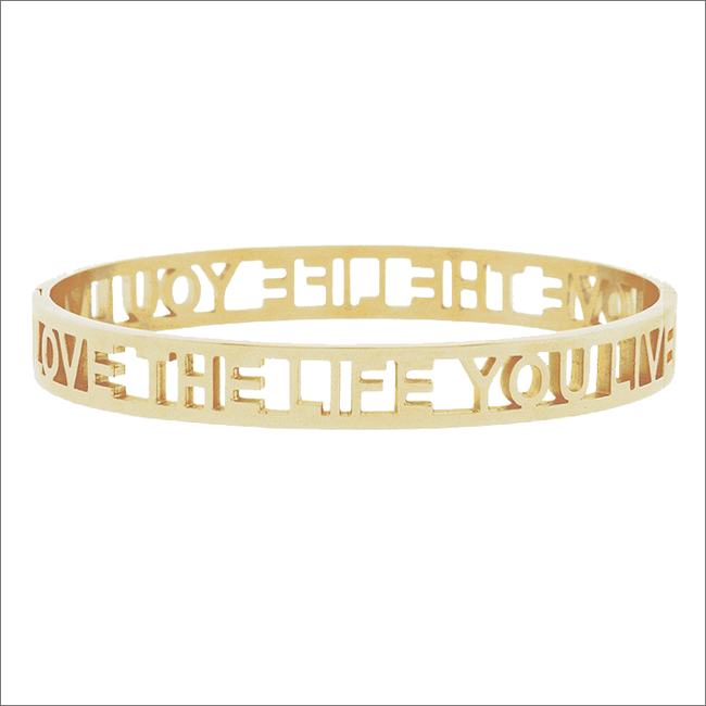 MY JEWELLERY ARMBAND LOVE THE LIFE YOU LIVE OPEN - large