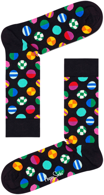 Zwarte HAPPY SOCKS Sokken CLASHING DOT SOCK  - large