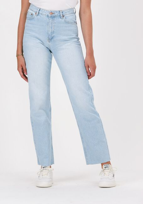 Lichtblauwe NA-KD Straight leg jeans STRAIGHT HIGH WAIST RAW HEM JE  - large