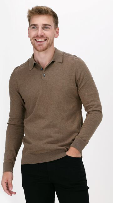 Taupe SELECTED HOMME Polo SLHBERG LS KNIT POLO NECK B NO - large