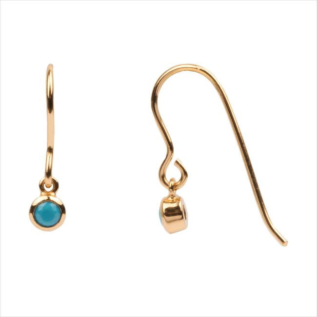 Gouden ATLITW STUDIO Oorbellen BLISS EARRINGS HOOK TURQUOISE  - large