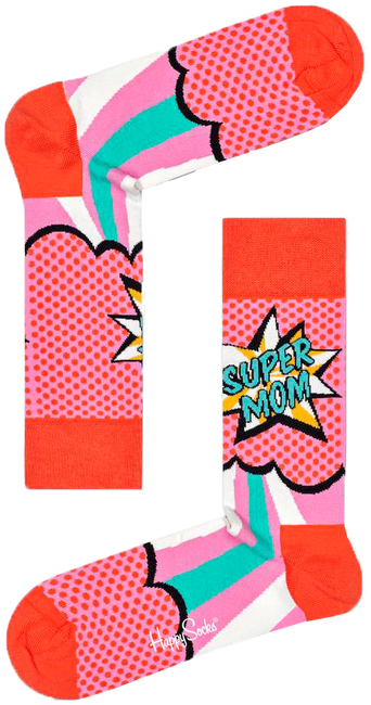 Roze HAPPY SOCKS Sokken SUPER MOM  - large