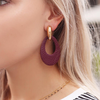 Rode MY JEWELLERY Oorbellen LEATHER OVAL EARRING - small