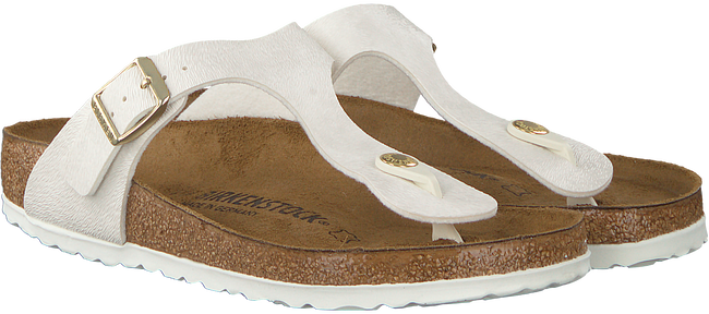 Witte BIRKENSTOCK PAPILLIO Slippers GIZEH ANIMAL FASCINATION  - large