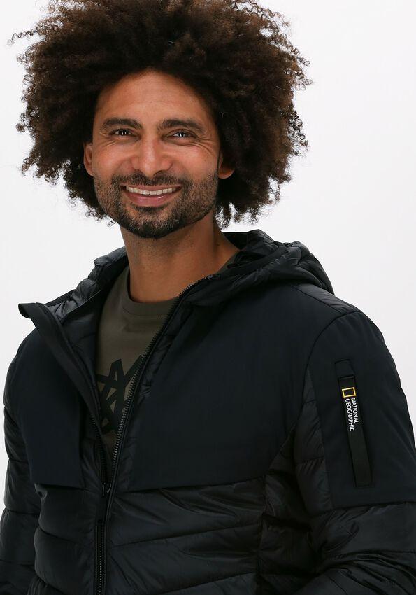 Zwarte NATIONAL GEOGRAPHIC Gewatteerde jas HOODED JACKET  - larger