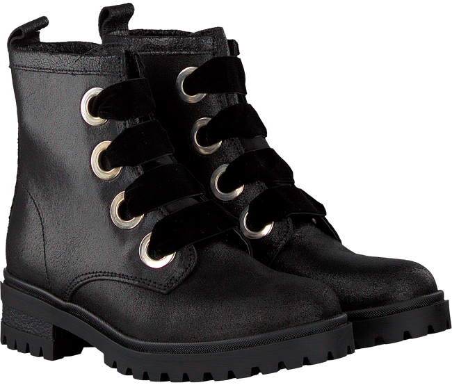 Zwarte TOMMY HILFIGER Veterboots METALLIC CLEATED LACE UP BOOT - large