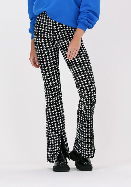 Zwarte COLOURFUL REBEL Flared broek DARCY DOGTOOTH SLIT FLARE - large