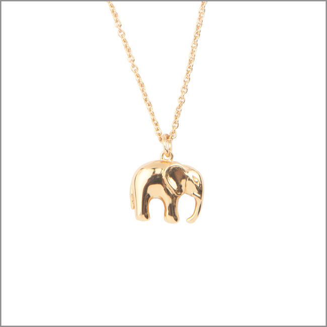 Gouden ATLITW STUDIO Ketting SOUVENIR NECKLACE ELEPHANT - large