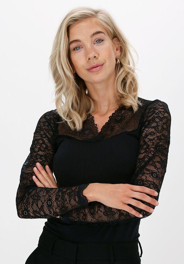 Zwarte MINUS Top VANESSA V-NECK LONG SLEEVE - larger