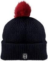 Blauwe TOMMY HILFIGER  Muts TH POMPOM BEANIE  - medium