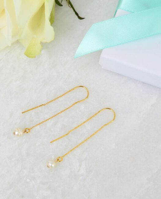 Gouden JEWELLERY BY SOPHIE Oorbellen SUBTLE PEARL EARRINGS - large