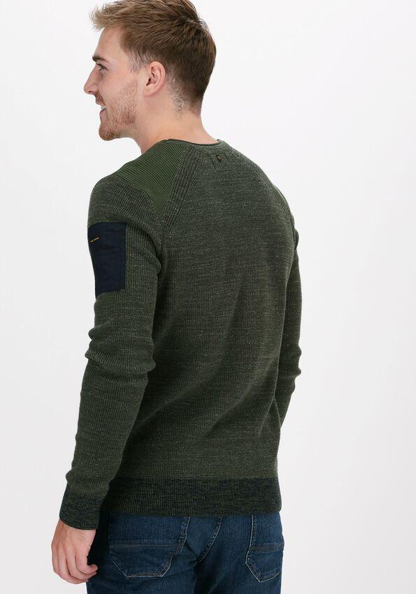 Groene PME LEGEND Trui R-NECK COTTON RIB KNIT - larger