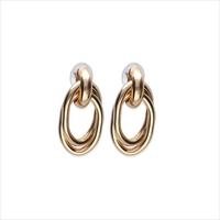 Gouden NOTRE-V Oorbellen OORBEL DUBBELE RING OVAAL  - medium