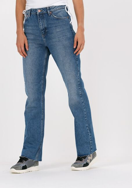 Blauwe NA-KD Straight leg jeans STRAIGHT HIGH WAIST RAW HEM JE - large