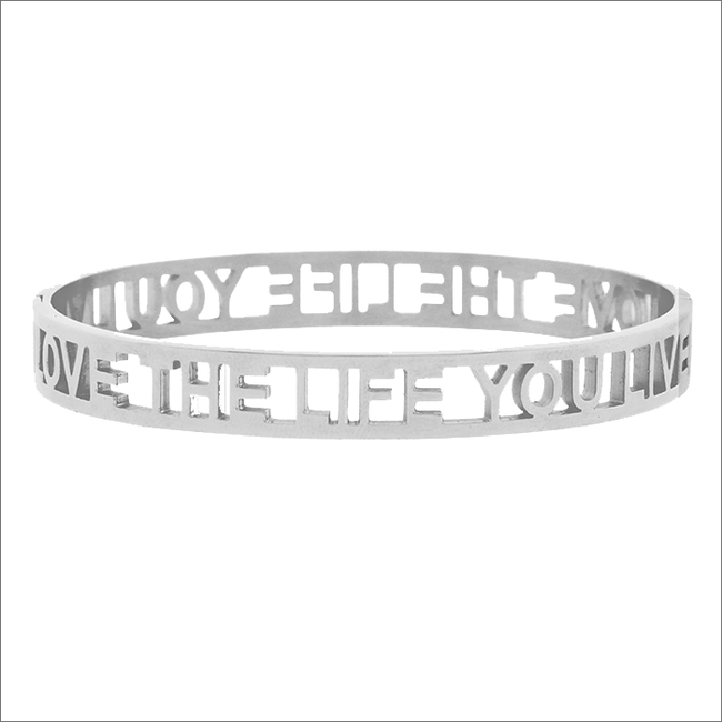 Zilveren MY JEWELLERY Armband LOVE THE LIFE YOU LIVE OPEN - large