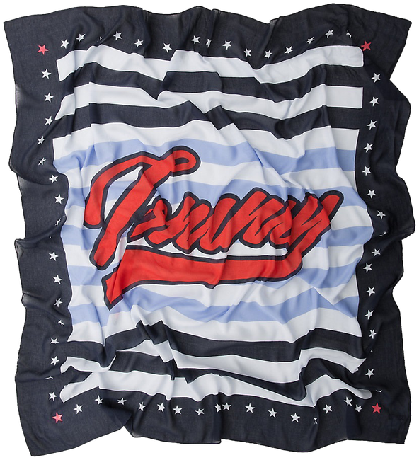 Blauwe TOMMY HILFIGER Sjaal STRIPY TOMMY SCARF - large